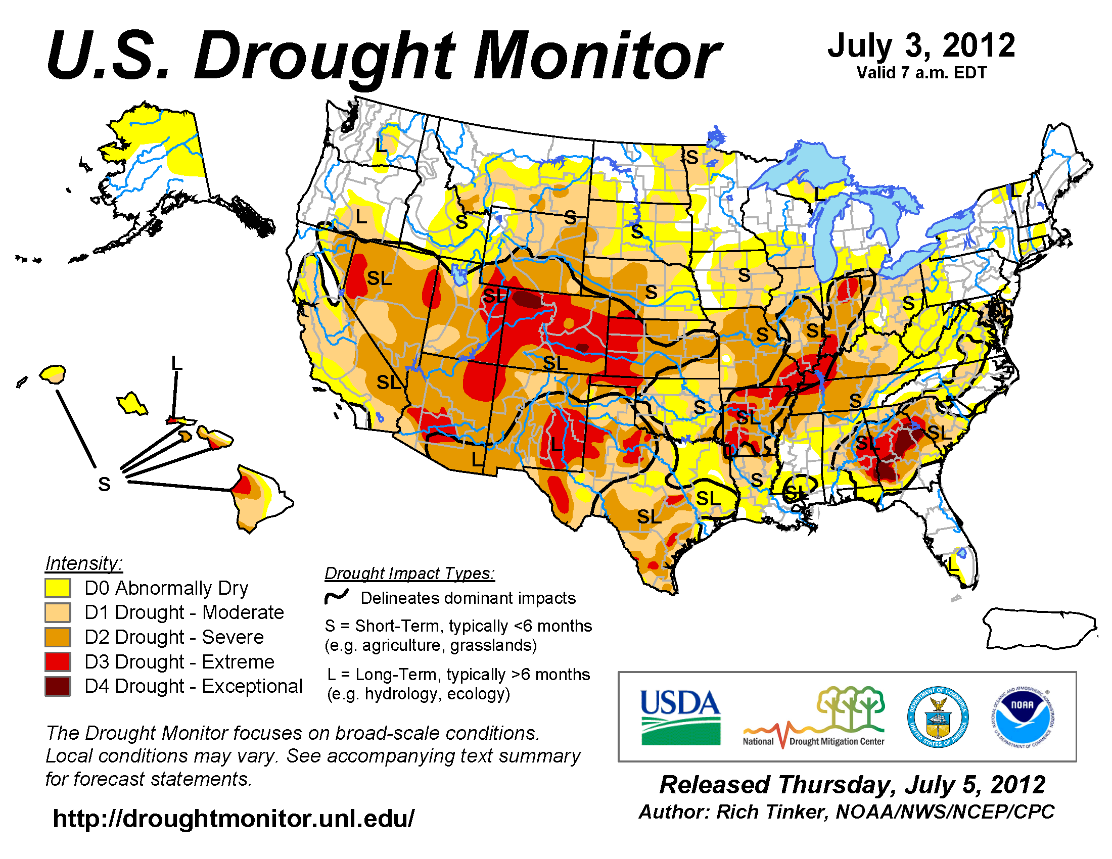 U.S. Drought Monitor map from 29 June 2012
