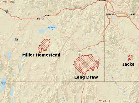 Map of Long Draw Fire