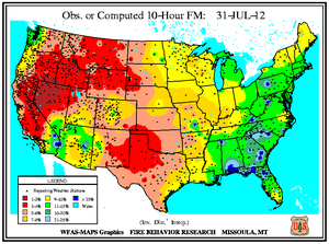 10-hr Fuel Moisture Map for July 31