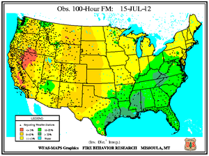 100-hr Fuel Moisture Map for July 15