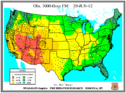 1000-hr Fuel Moisture Map for July 1