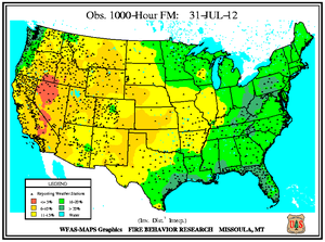 1000-hr Fuel Moisture Map for July 31