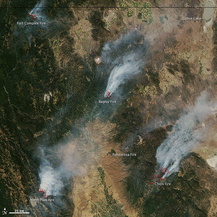 23 August 2012 Satellite Image of California Fires