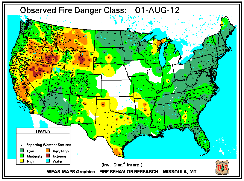 Map Of Fire Risk Us Globalinterco - Us wildfire map