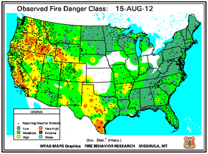 Fire Danger Map for August 15