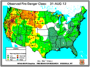 Fire Danger Map for August 31