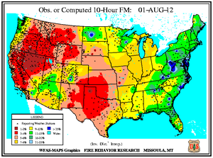10-hr Fuel Moisture Map for August 1