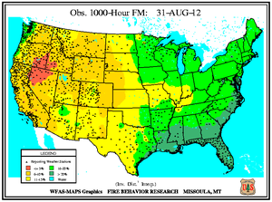 1000-hr Fuel Moisture Map for August 31