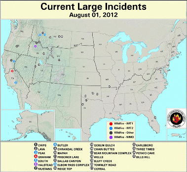 Large Wildfires 1 August 2012