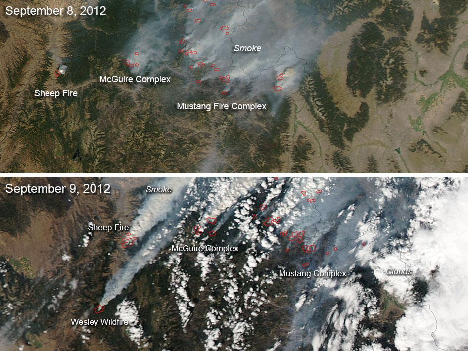 Comparison of Images of Idaho Fires for September 8–9, 2012
