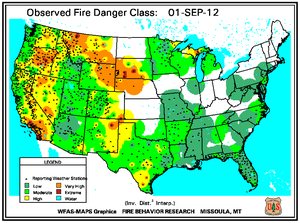 Fire Danger Map for September 1