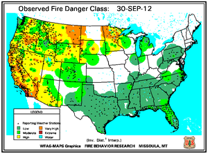 Fire Danger Map for September 30