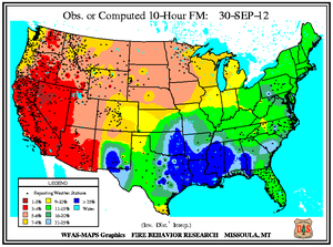 10-hr Fuel Moisture Map for September 30