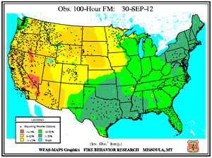 100-hr Fuel Moisture Map for September 30