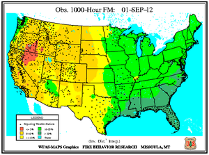 1000-hr Fuel Moisture Map for September 1