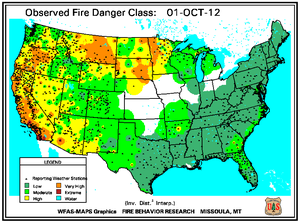 Fire Danger Map for October 1