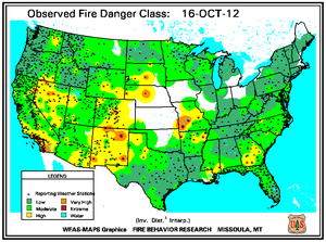 Fire Danger Map for October 16