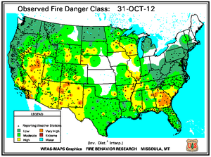 Fire Danger Map for October 31