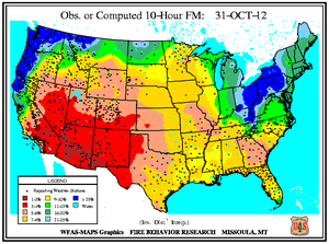 10-hr Fuel Moisture Map for October 31