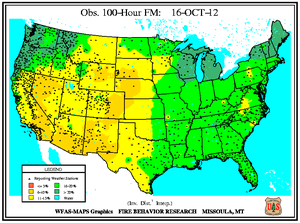 100-hr Fuel Moisture Map for October 16