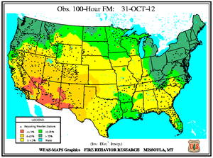 100-hr Fuel Moisture Map for October 31