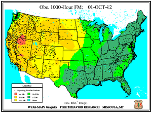 1000-hr Fuel Moisture Map for October 1