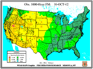 1000-hr Fuel Moisture Map for October 16