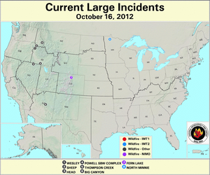 U.S. Large Wildfires 16 October 2012