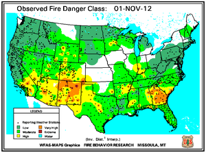Fire Danger Map for November 1