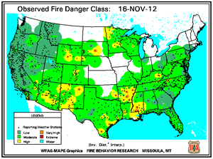 Fire Danger Map for November 16