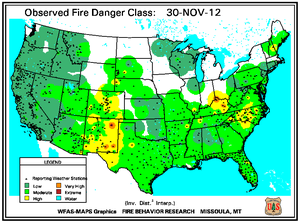 Fire Danger Map for November 30