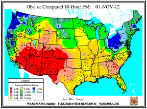 10-hr Fuel Moisture Map for November 1
