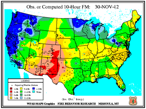 10-hr Fuel Moisture Map for November 30