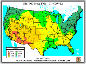 100-hr Fuel Moisture Map for November 1
