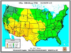 100-hr Fuel Moisture Map for November 16