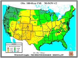 100-hr Fuel Moisture Map for November 30