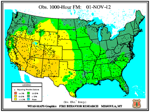 1000-hr Fuel Moisture Map for November 1
