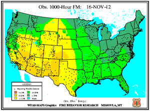1000-hr Fuel Moisture Map for November 16
