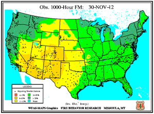 1000-hr Fuel Moisture Map for November 30