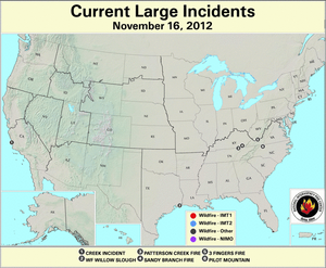 U.S. Large Wildfires 16 November 2012