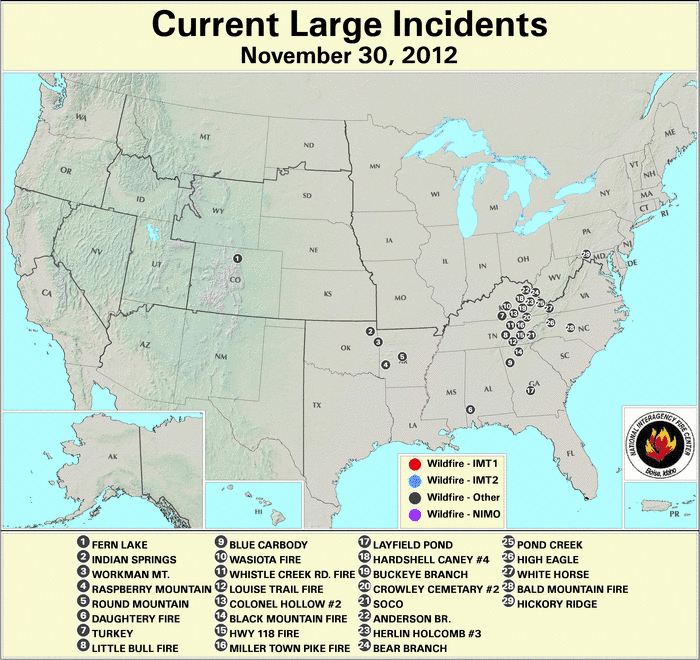 U.S. Large Wildfires 30 November 2012