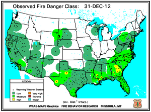 Fire Danger Map for December 31