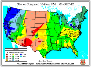 10-hr Fuel Moisture Map for December 1