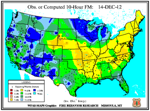 10-hr Fuel Moisture Map for December 14