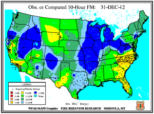 10-hr Fuel Moisture Map for December 31