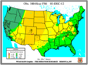 100-hr Fuel Moisture Map for December 1