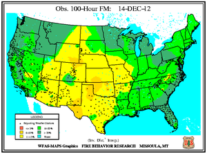 100-hr Fuel Moisture Map for December 14