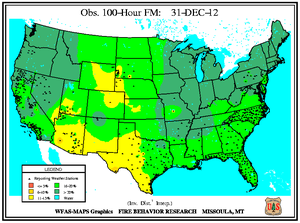 100-hr Fuel Moisture Map for December 31