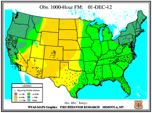 1000-hr Fuel Moisture Map for December 1