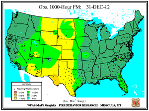 1000-hr Fuel Moisture Map for December 31